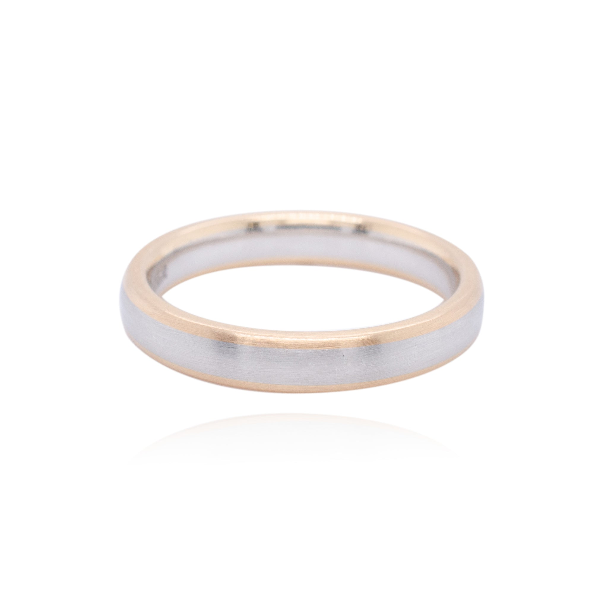 Mixed Metal Court Shape Mens Wedding Ring 4mm