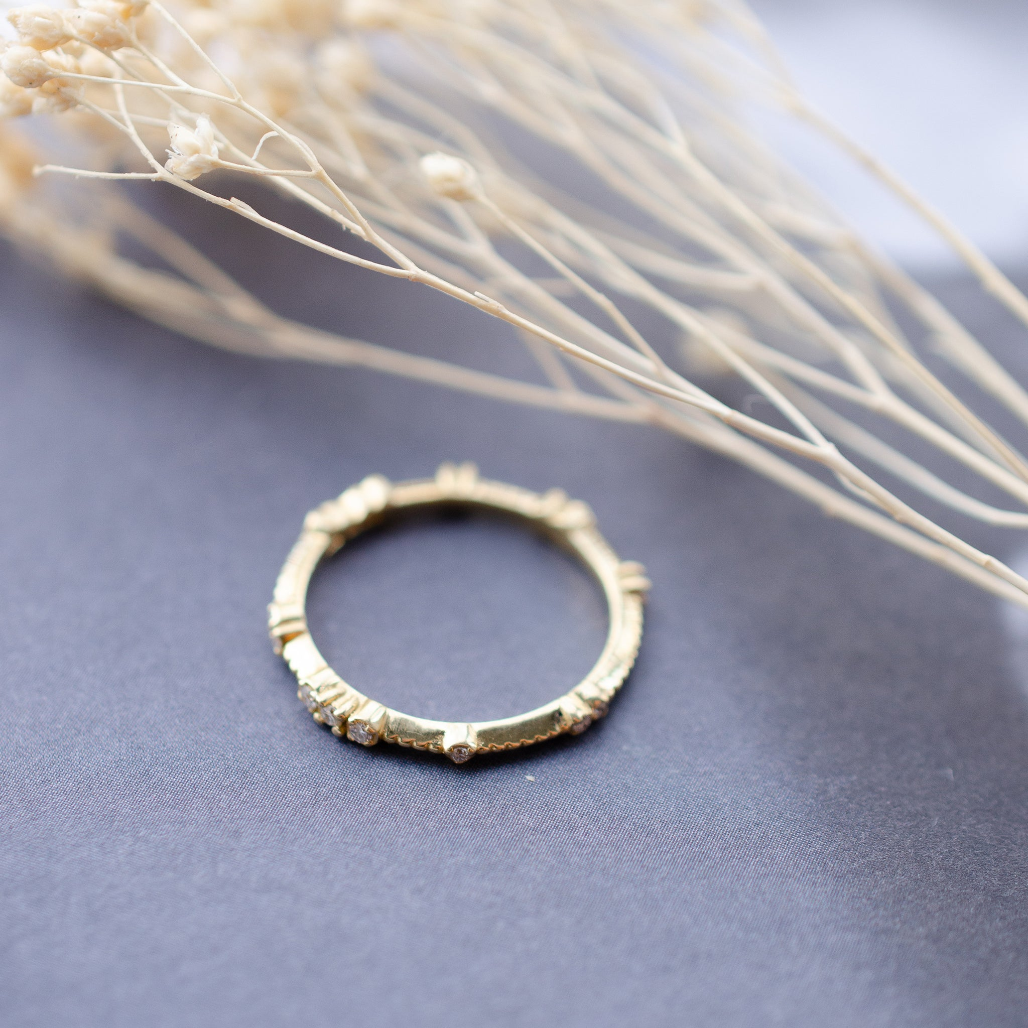 Beaded Diamond Set Wedding Ring in 18ct Yellow Gold