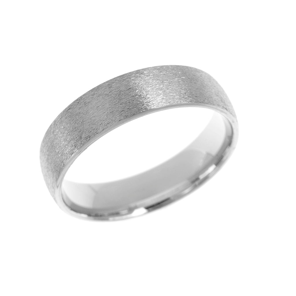 Textured Court Shape Mens Wedding Ring 5mm