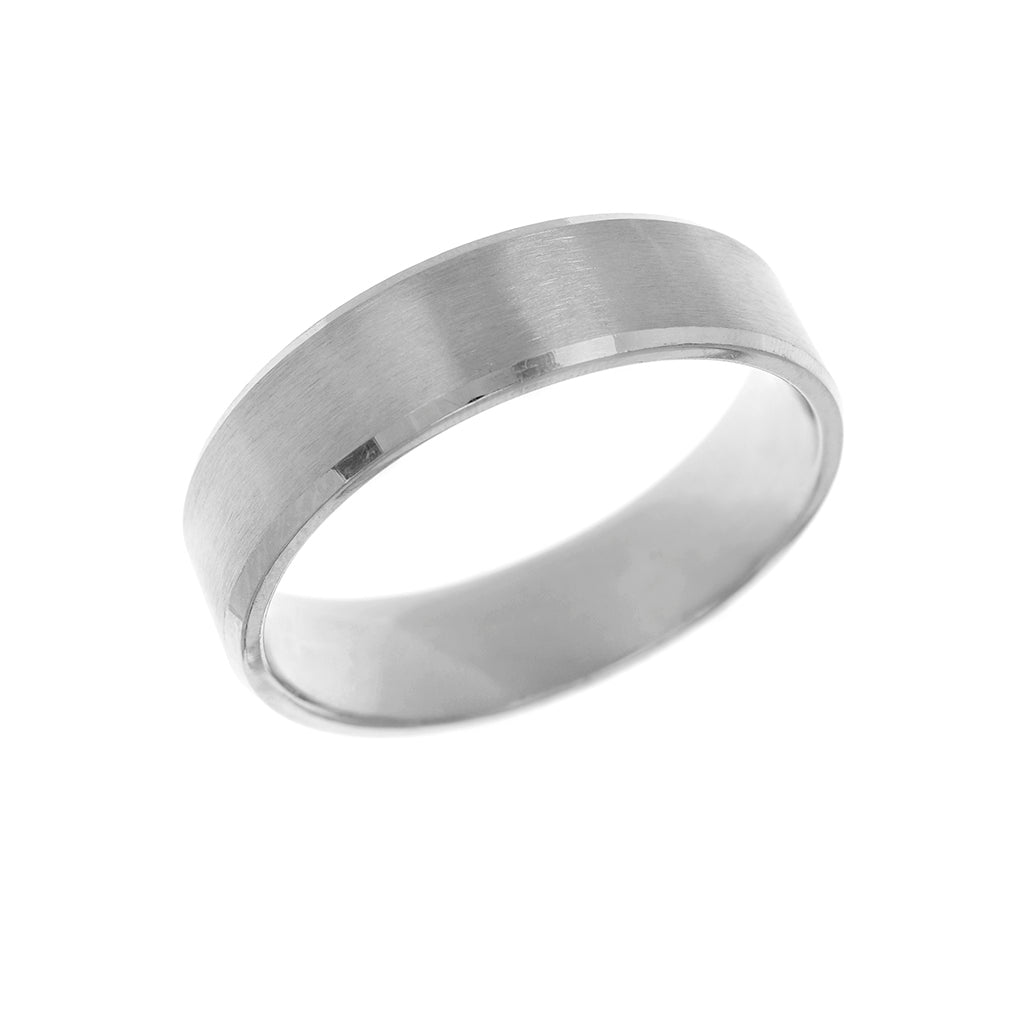 Bevelled Edge Medium Weight Mens Wedding Ring 6mm