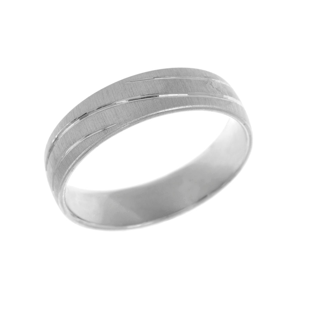 Wave Engraved Court Shape Mens Wedding Ring 6mm