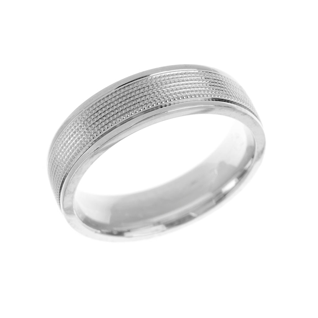 Beaded Heavy Weight Mens Wedding Ring 6mm