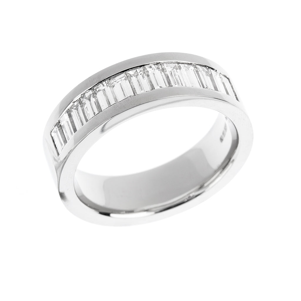 Baguette Diamond Set Mens Wedding Ring
