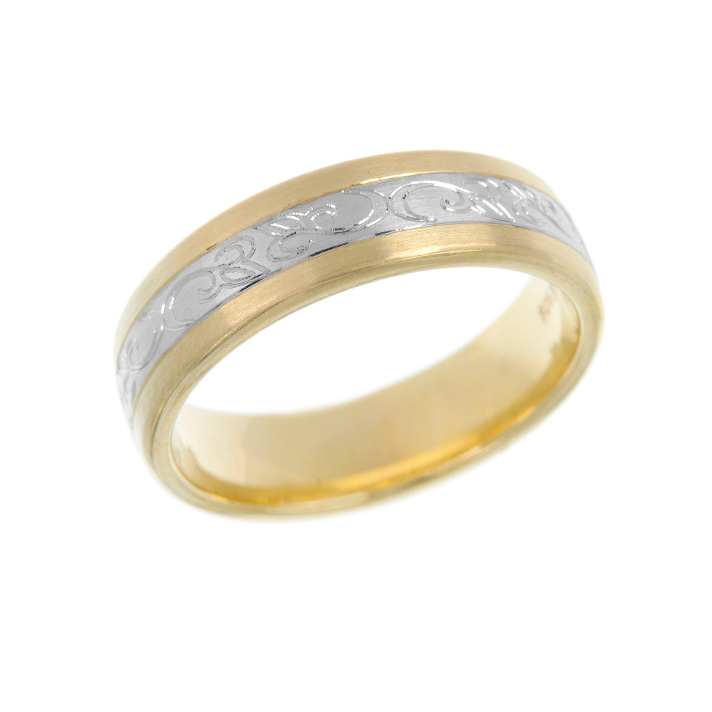 Mixed Metal Engraved Mens Wedding Ring 6mm