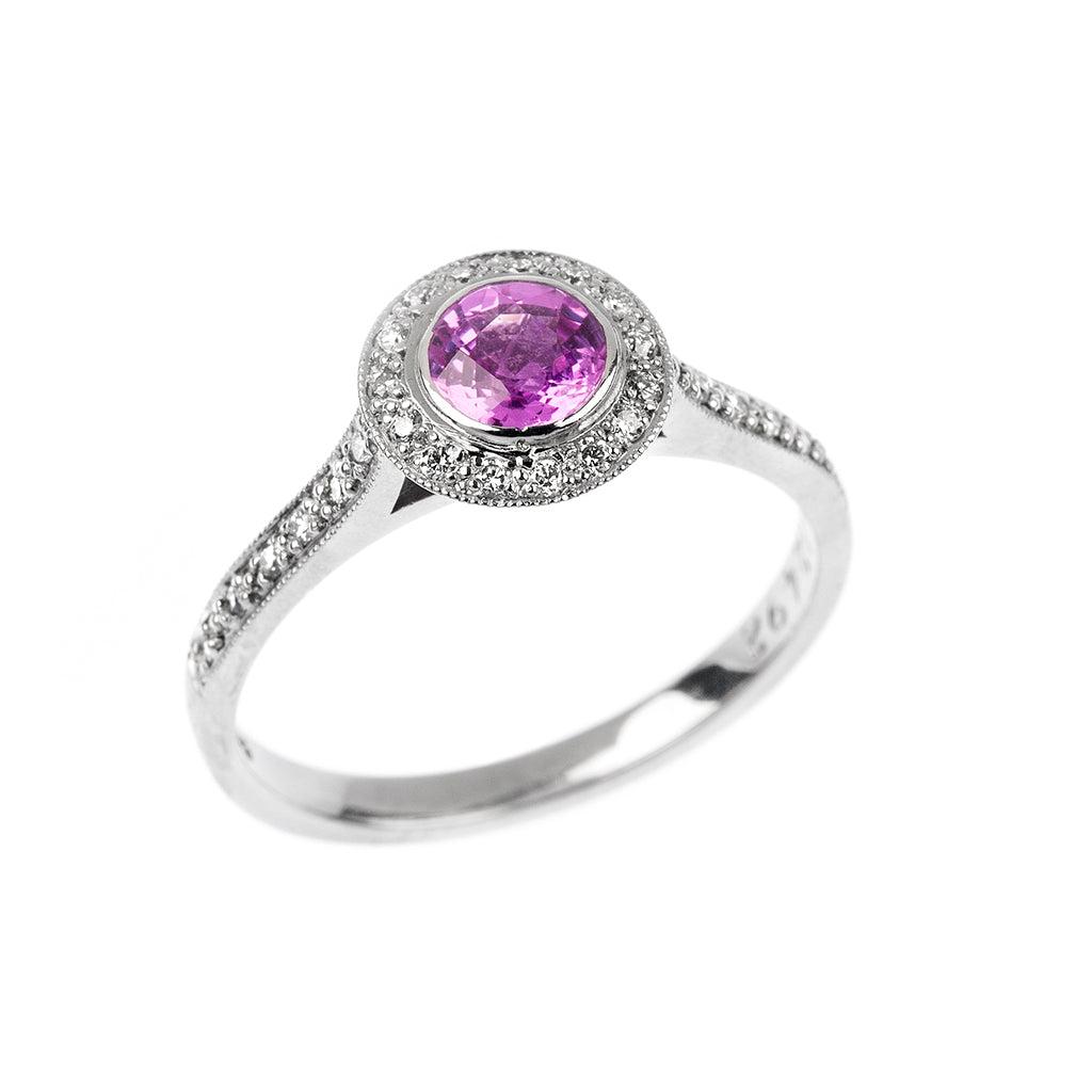 Pink Sapphire & Diamond Halo Engagement Ring