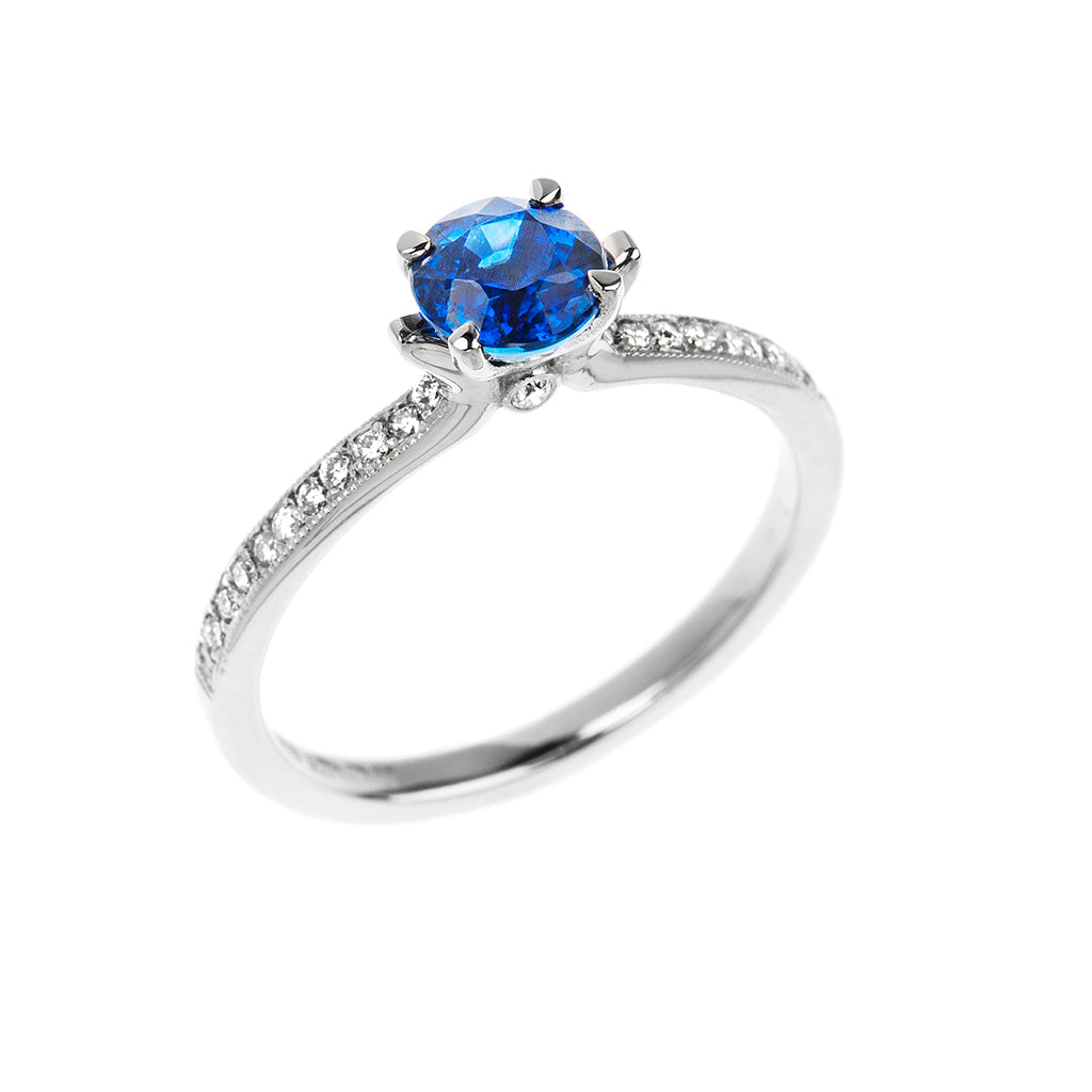 Sapphire & Diamond Solitaire Engagement Ring