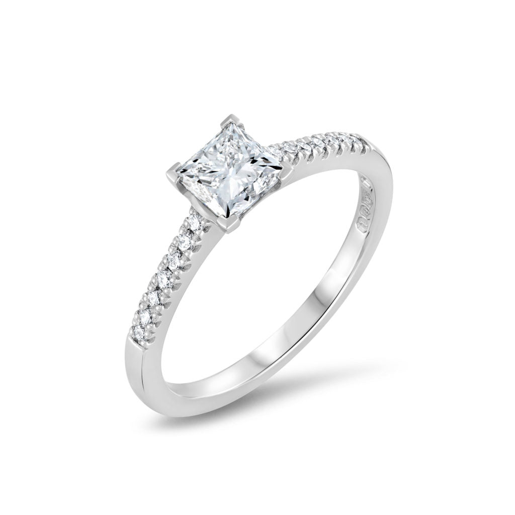Princess Cut Diamond Engagement Ring With Microclaw Diamond Shoulders