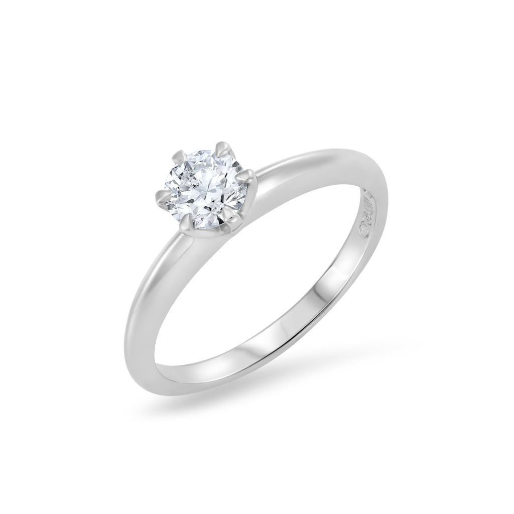 Round Brilliant Cut Diamond Six Claw Engagement Ring