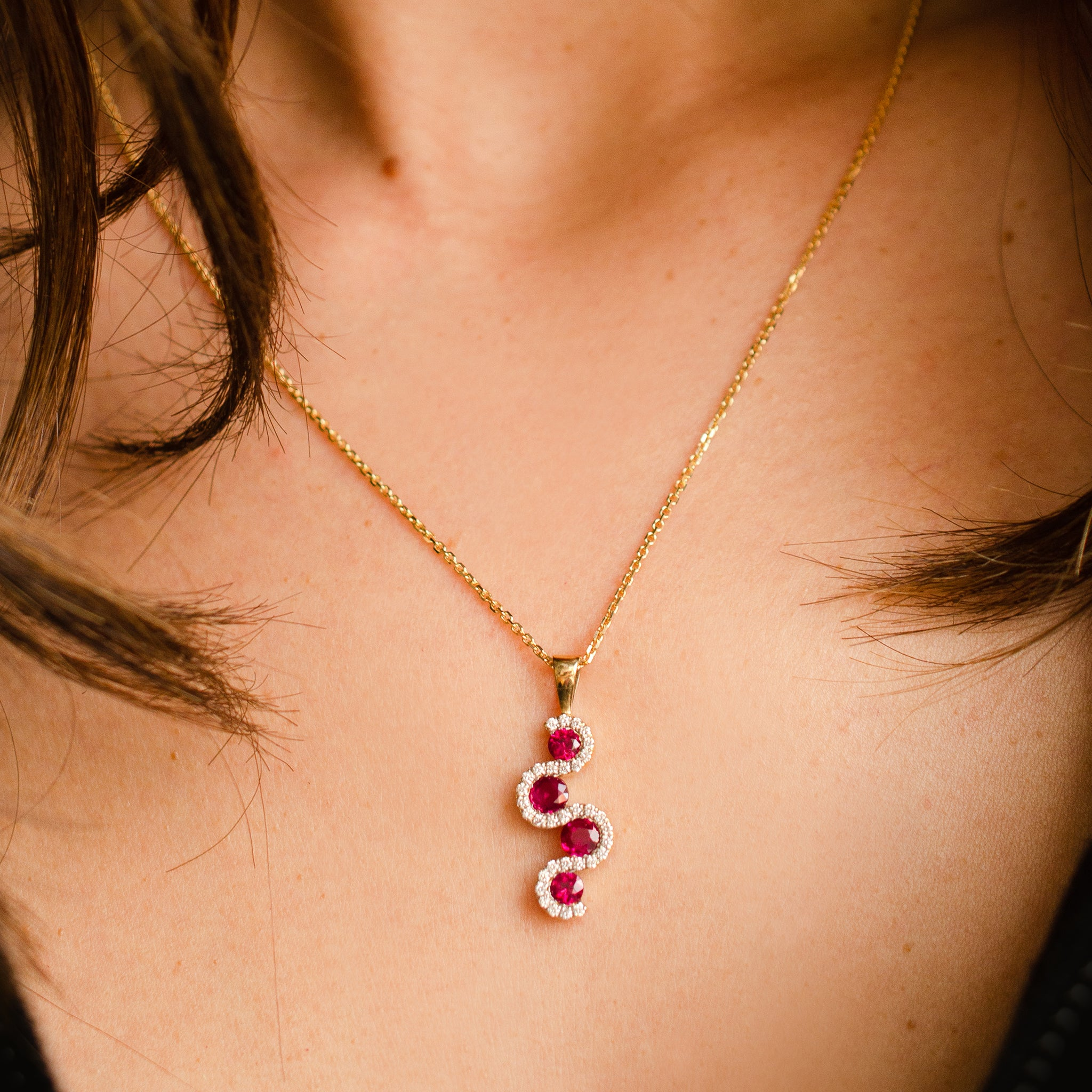 Ruby & Diamond Curved Drop Necklace in 18ct Yellow Gold