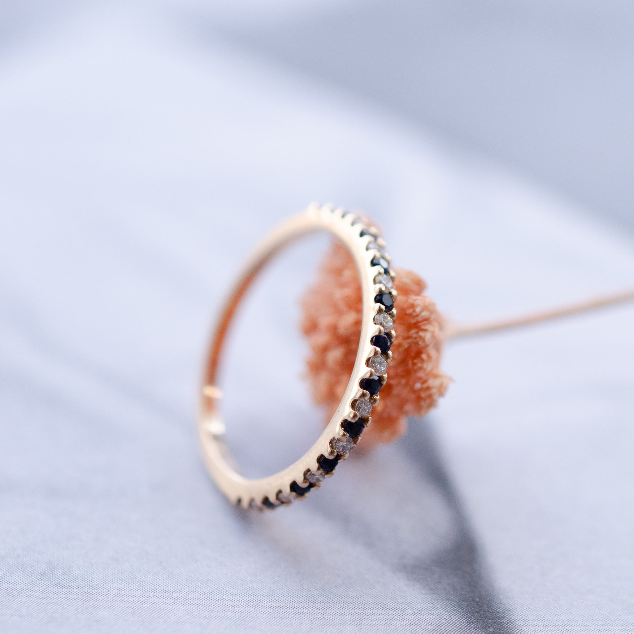 Sapphire & Diamond Eternity Wedding Ring in 18ct Rose Gold