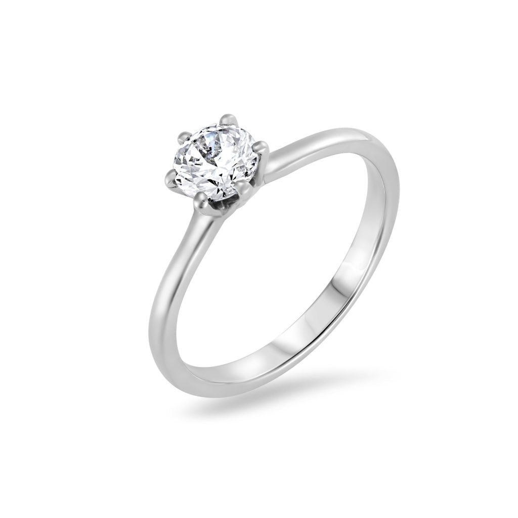 Six Claw Tulip Diamond Engagement Ring