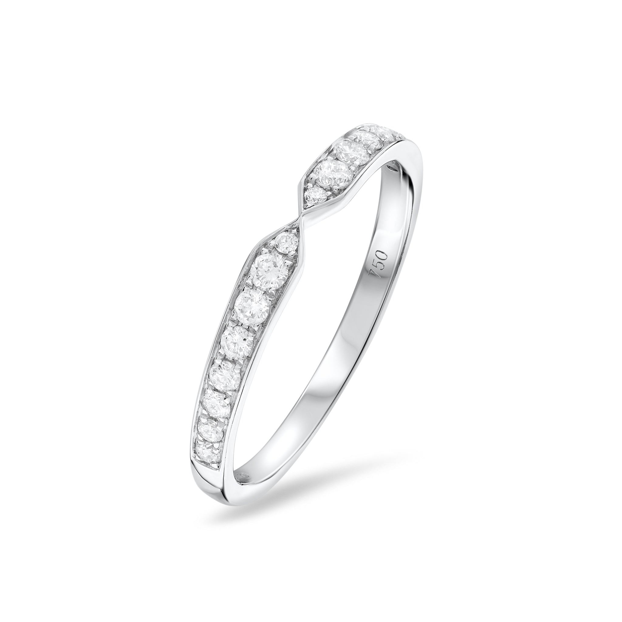 Diamond Set Fitted Eternity Wedding Ring 18ct White Gold