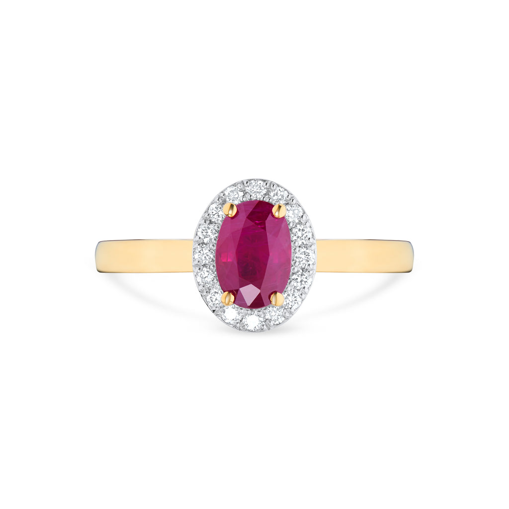 Oval Ruby & Diamond Halo Engagement Ring