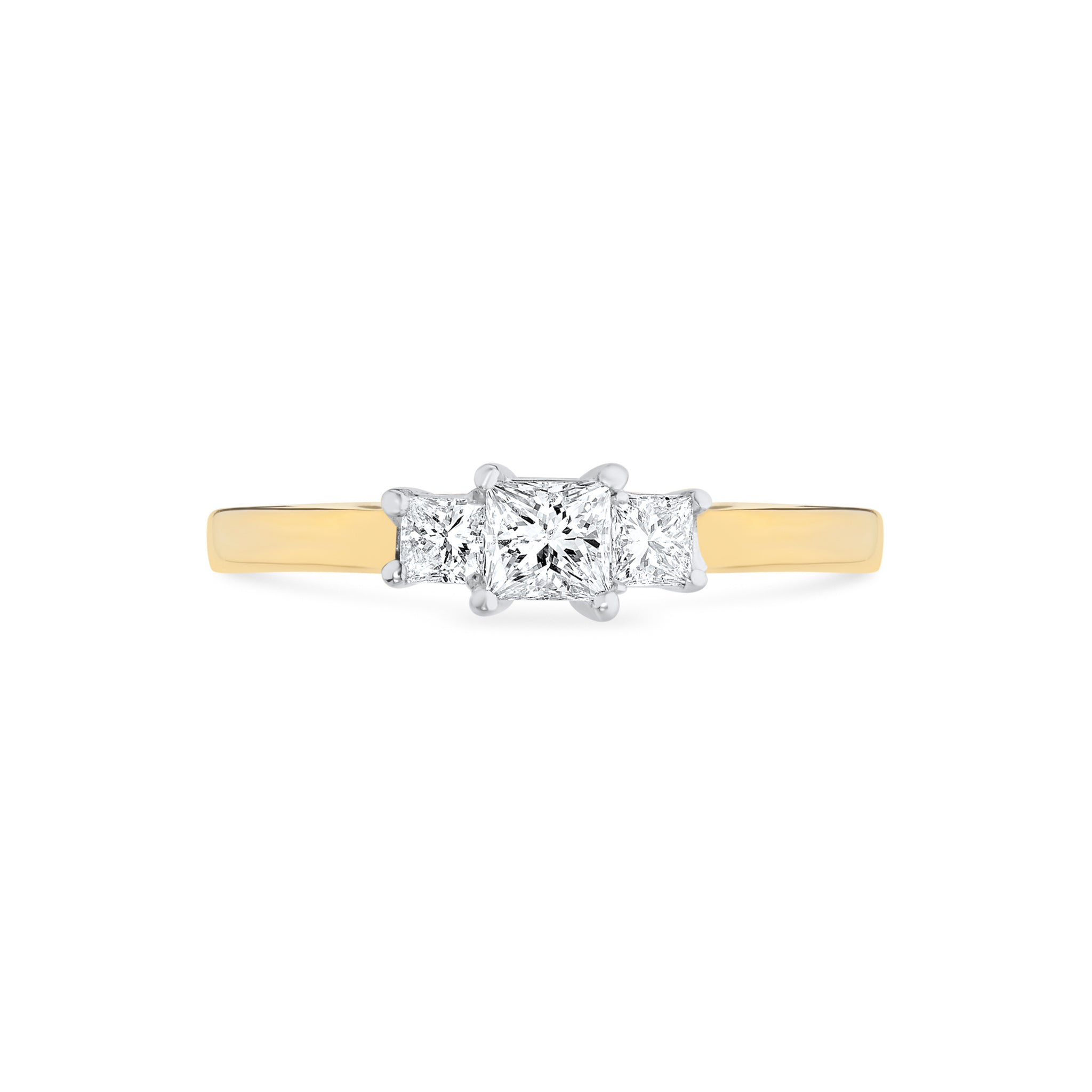 Princess Cut Diamond Trilogy Engagement Ring
