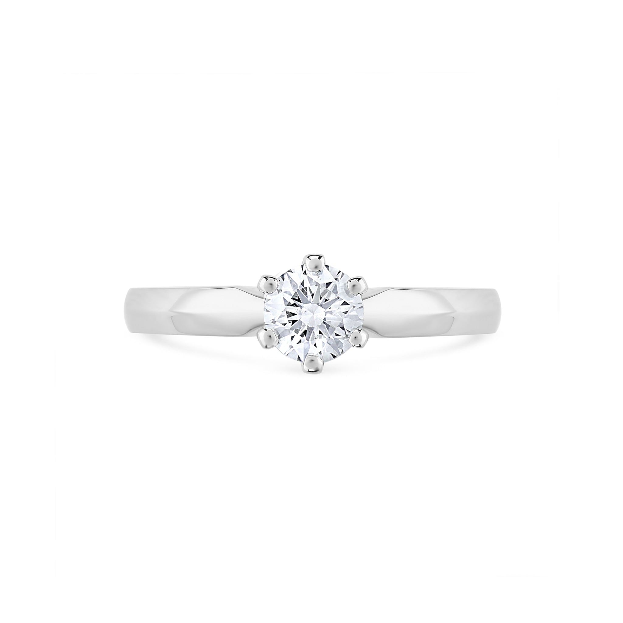Round Brilliant Diamond Six Claw Solitaire Engagement Ring