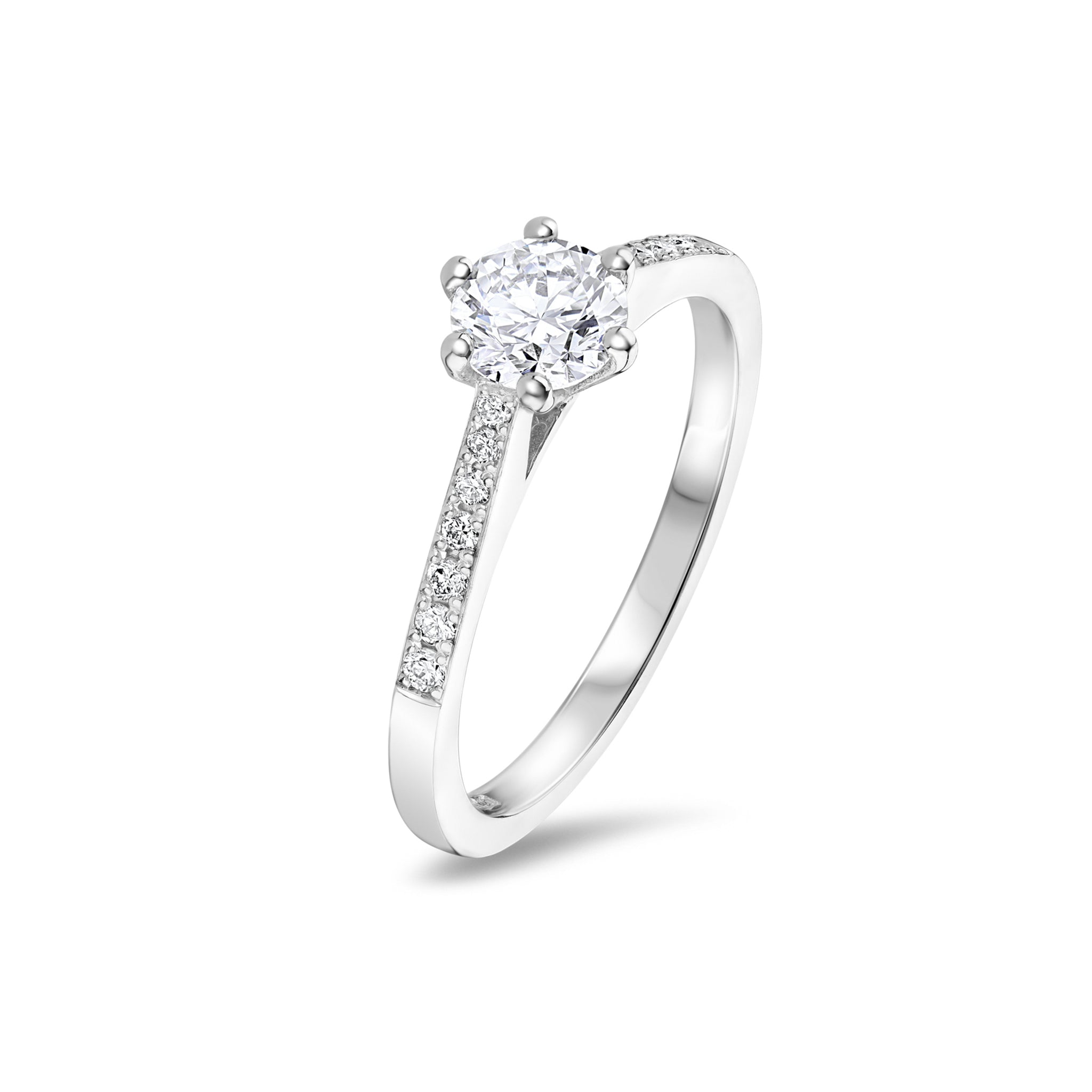 Six Claw Round Brilliant Cut Diamond Engagement Ring