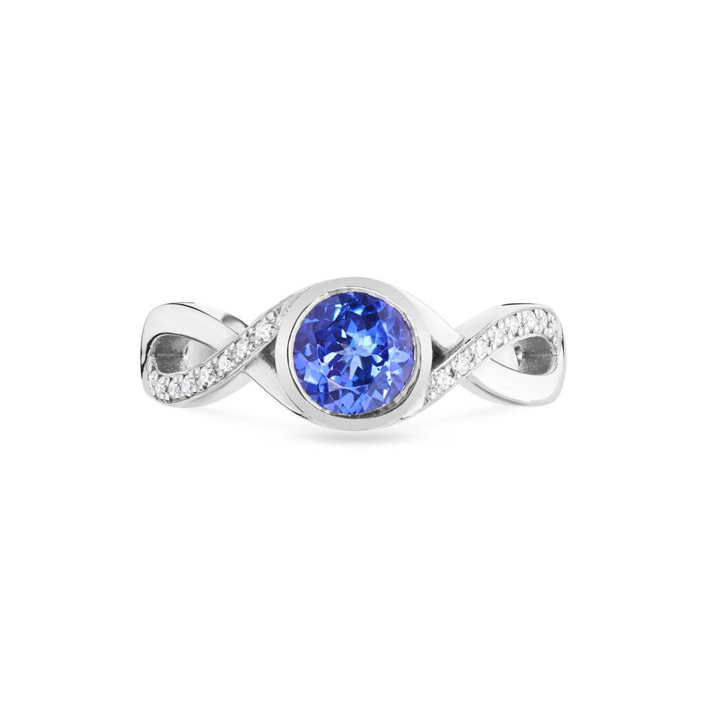 Tanzanite & Diamond Crossover Twist Ring in Platinum