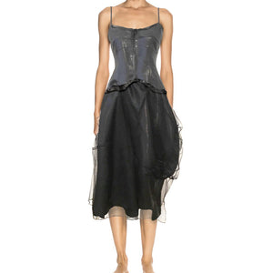 BELLE SILK DRESS - IRIDESCENT BLACK