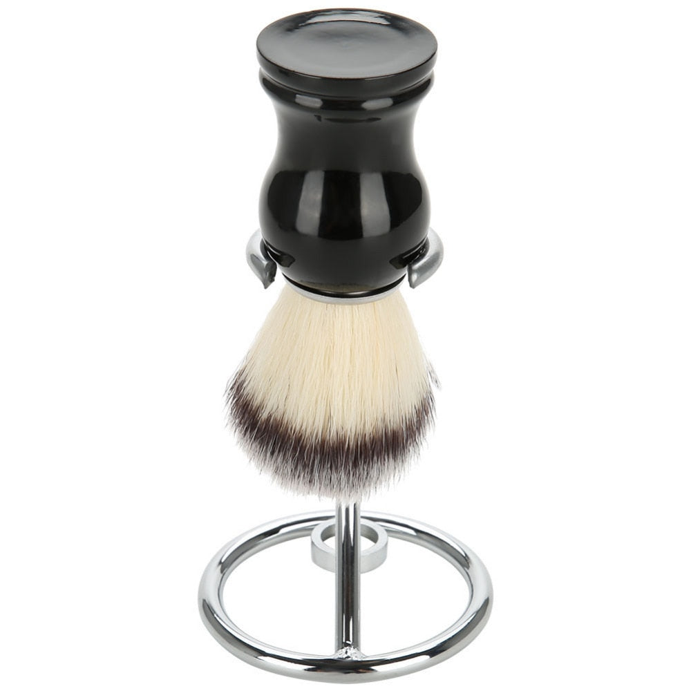 Stainless steel curved shaving brush