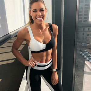 White and Black Women Fitness Set