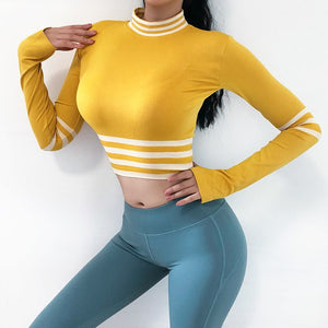 Sexy Striped Compression Long Sleeved Workout Top