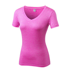 Women V Neck Fitness T Shirt