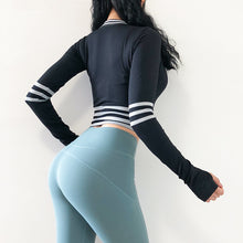Load image into Gallery viewer, Sexy Striped Compression Long Sleeved Workout Top