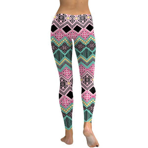 Women Fitness Geometric High Waist Leggings