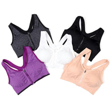 Load image into Gallery viewer, Zipper Push Up Women Padded Sports Bra