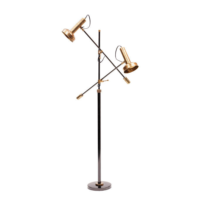 Double copper floor lamp