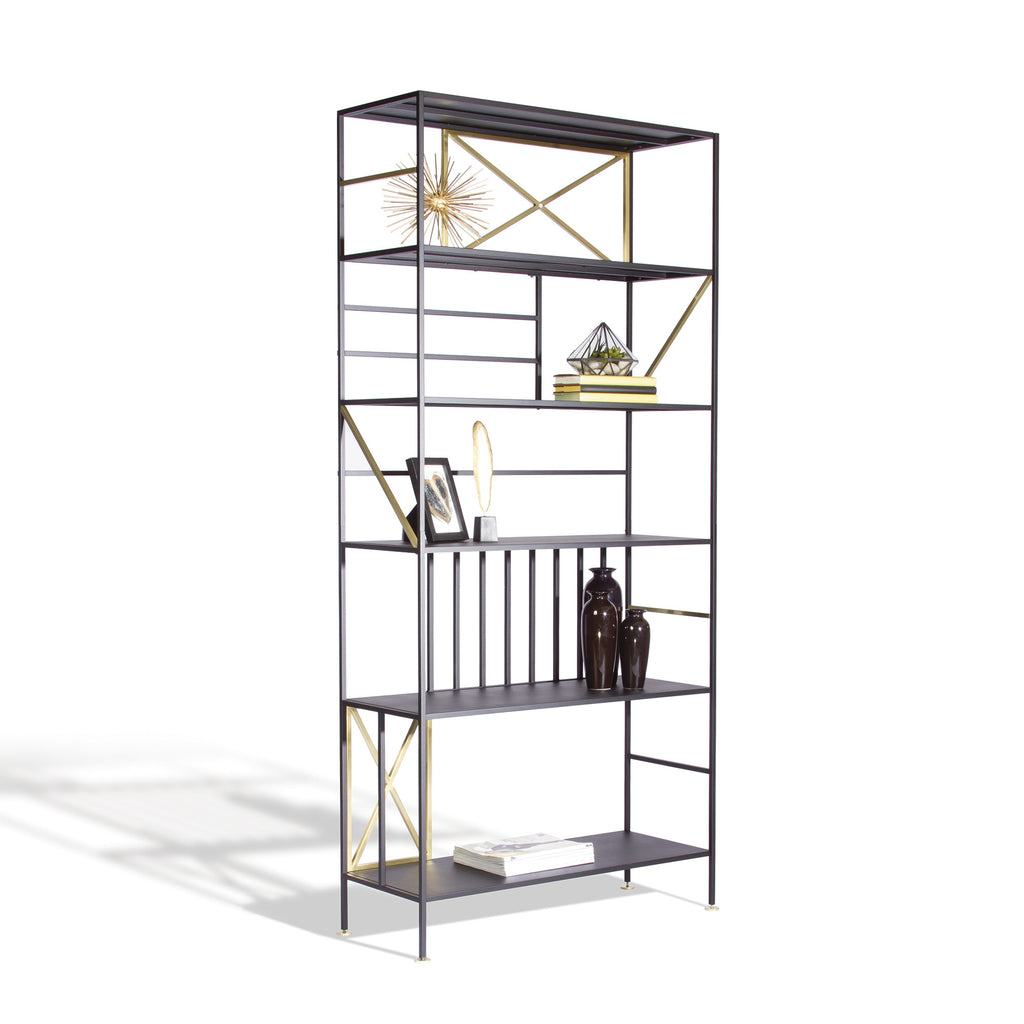 bookcase sauder pass dakota products shelf bookcases vertical