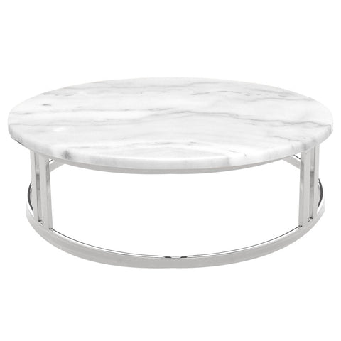 Nicola Coffee Table -White Marble / Stainless Steel