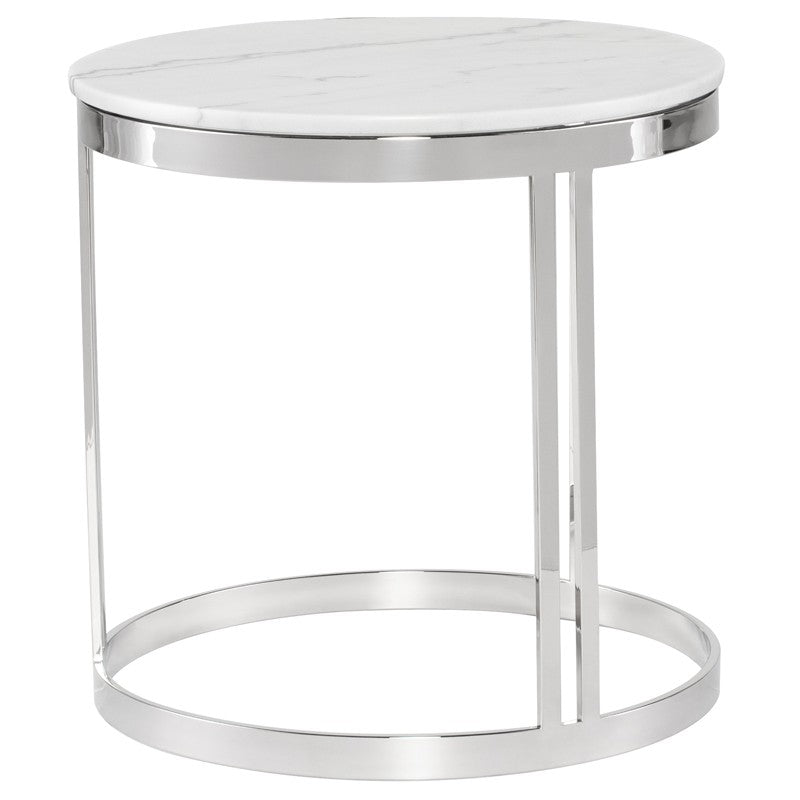 Nicola Side Table - White Marble / Stainless Steel