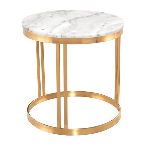 Nicola Side Table - White Marble / Gold