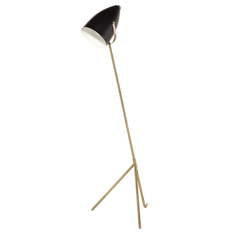 Austin Floor Light - Black / Antique Brass