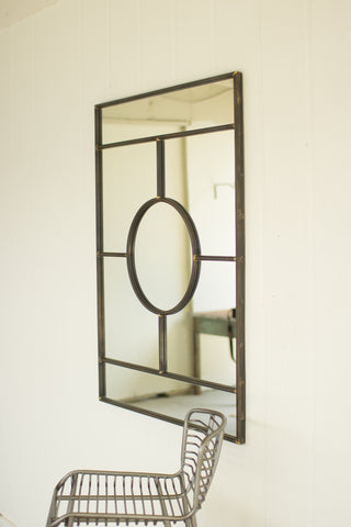 Iron framed mirror