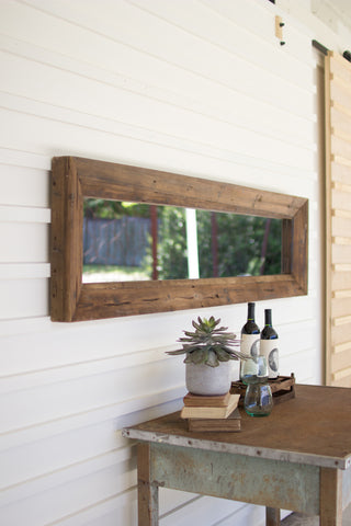 Long rectangle mirror with recycled wood frame