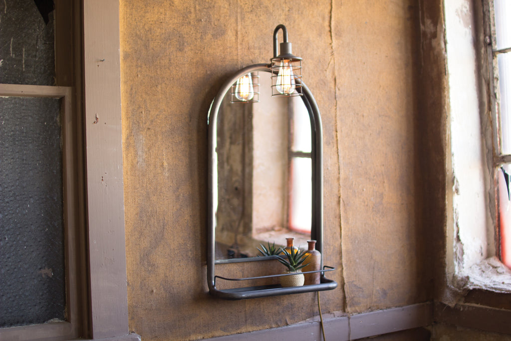 Wall mirror with shelf & light