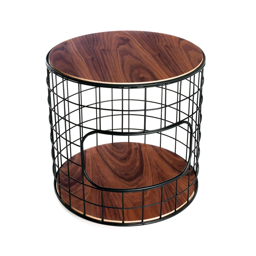Wireframe End Table Walnut