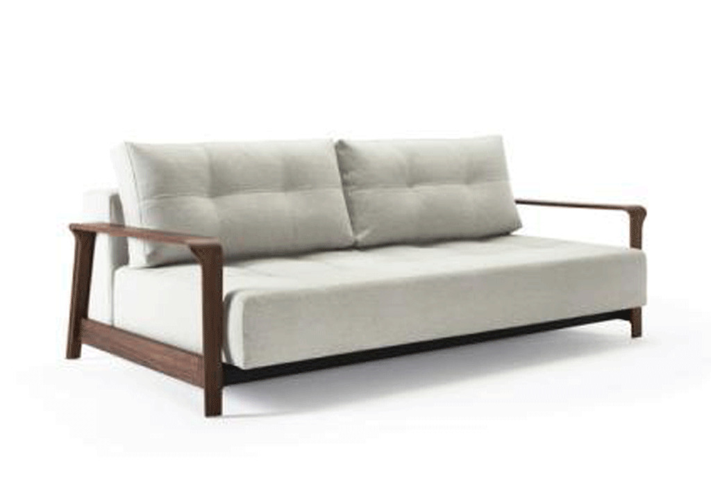 RAN D.E.L SOFA-WALNUT ARMS, (QUEEN)