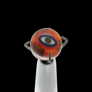 Banjo Glass Art - Orange/Brown Eyes Pearl Size 6.2mm-6.5mm - Onpointsmoke