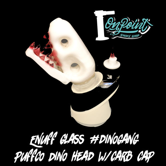 Enuff Glass - Dino Head with Carb Cap White with Red Teeth for Puffco Peak (Private Collection ) - Onpointsmoke