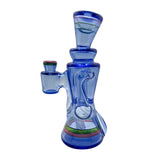 Rycrafted Glass - 2020 Recycler in Blue Dream Base with Multi-Stripes - Onpointsmoke