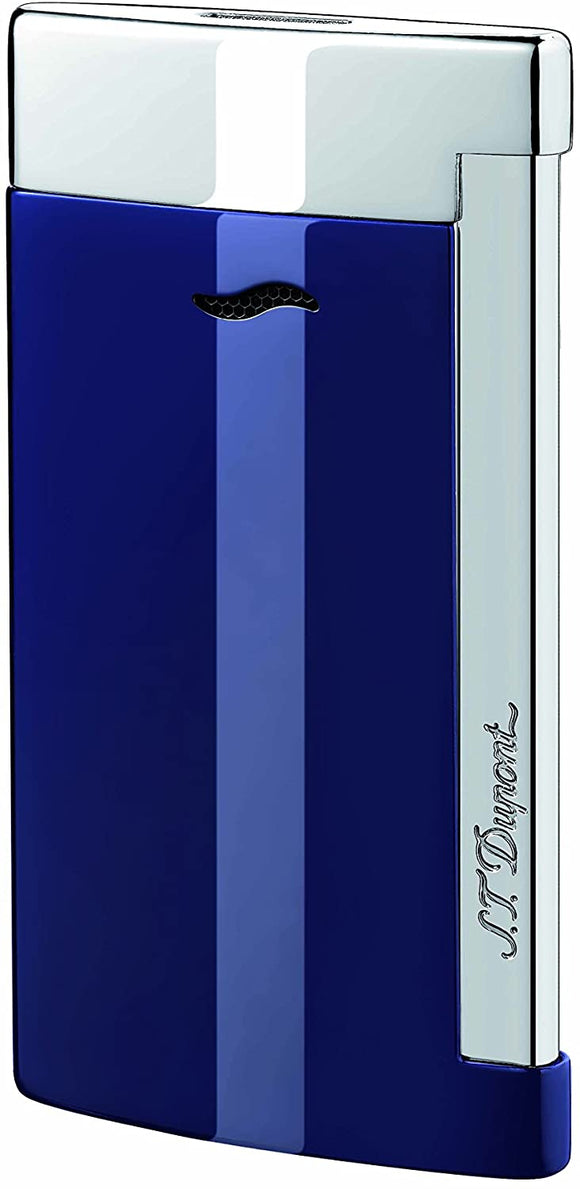 S.T Dupont- S.T Dupont Lighter Slim 7 Chrome with Blue Finish w/Gas - Onpointsmoke