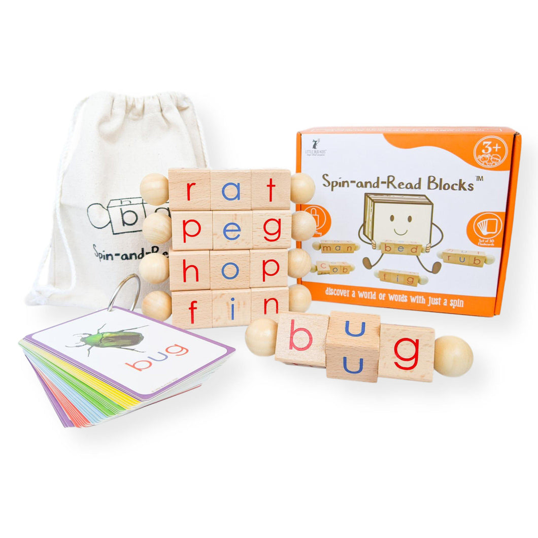 Little Bud Kids Spin-and-Read Montessori Phonetic Blocks and Flashcard Travel Set