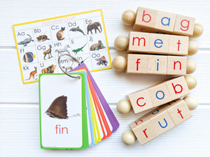 phonetic reading blocks paired together CVC flashcards color coded by vowels & an alphabet sound chart