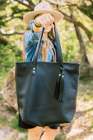 Logan // Black Leather Tote