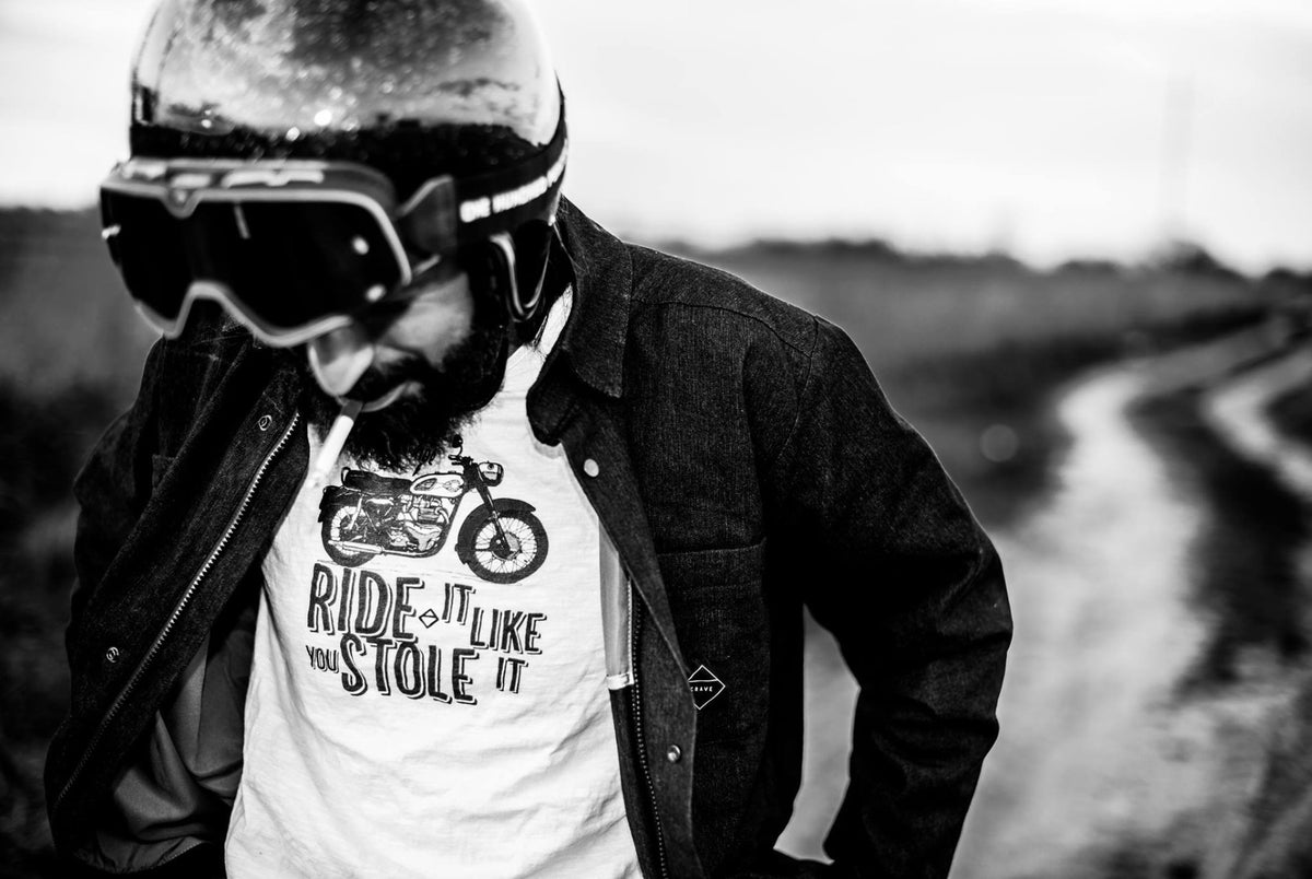 Motorcycle T-shirt - Ride it like you stole it, BSA - white - By Crave for Ride