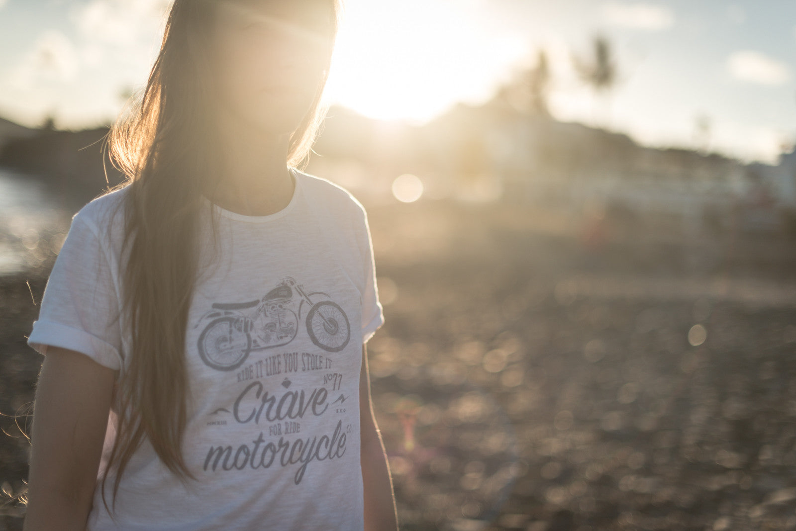 T-shirt -  Scrambler with Crave Motorcycle CO - White - By Crave fior Ride