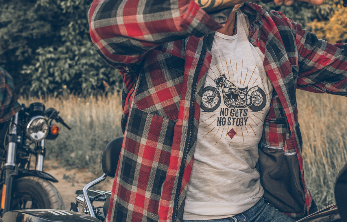 Motorcycle T-shirt - Bobber - No guts no story